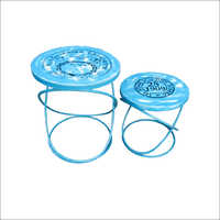 Iron Industrial Side Tables Set Of Two Blue