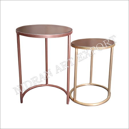 Iron Pipe Metal Side Tables Set Of Two
