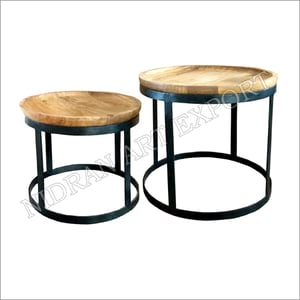 Iron Round Tables With Wooden Top Set Of Two