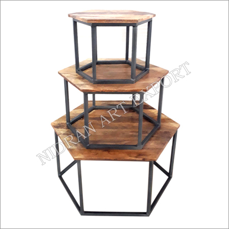 Wooden Hexagonal Tables With Iron Base Set Of Three