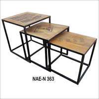 Wooden And Iron Side Tables Set Of Three