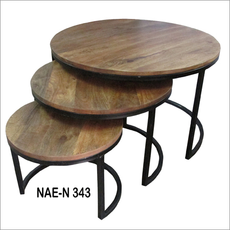 Wooden And Iron Round Tables Set Of Three