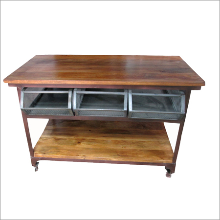 Wooden And Iron Industrial Trolley Table