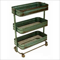 Vintage Iron Nesting Trolley Trays - Green