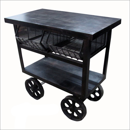 Industrial Iron Trolley Table (Black)