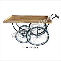 Industrial Iron & Wooden Serving Cart