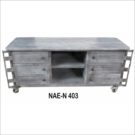 Industrial And Vintage Iron 3 Drawer TV Cabinet