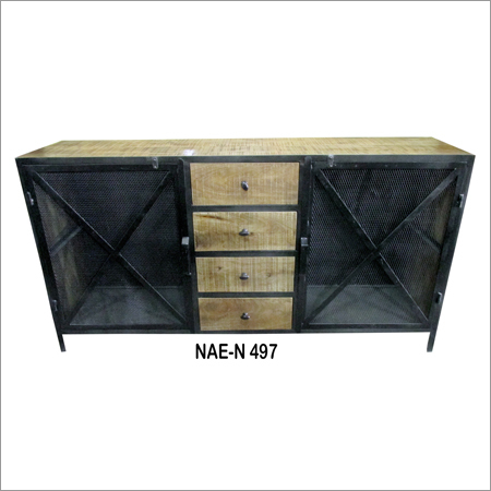Industrial Iron & Wooden 4 Drawer TV Cabinet