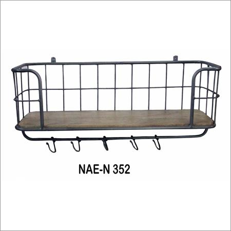 Industrial Iron & Wooden Wall Shelf