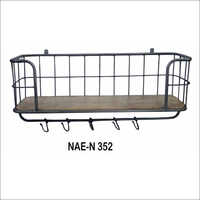 Industrial Iron & Wooden Wall Shelf