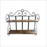 Industrial Wooden And Iron Wall Shelf
