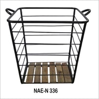 Iron And Wooden Grid basket