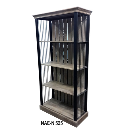 Wooden And Iron 4 Shelf Book Rack