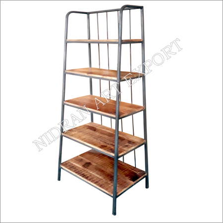 Wooden And Iron Pipe Metal Book Shelf