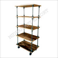 Wooden And Iron Book Shelf With Wheels