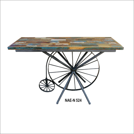 Iron & Wooden Industrial Cycle Console Table