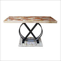 Iron & Wooden Industrial O Console Table
