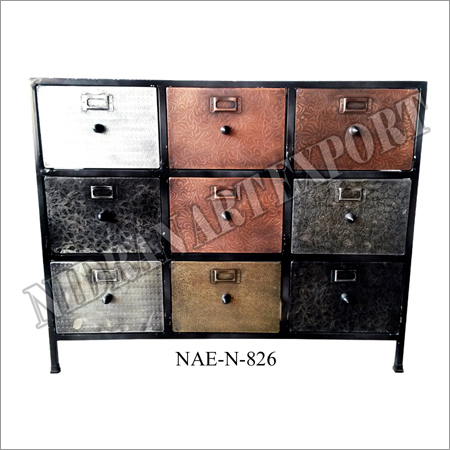 Iron & Marble Industrial 9 Drawer Chest