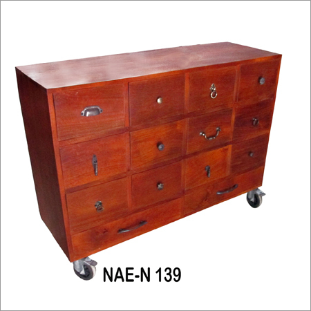 Industrial Wooden Drawer Chest With Wheel