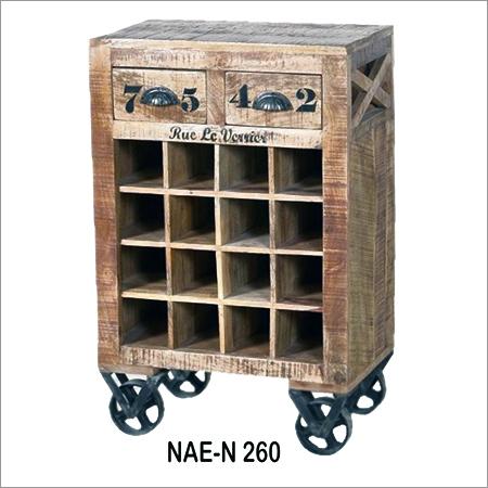 Wooden Wine Rolling Cart