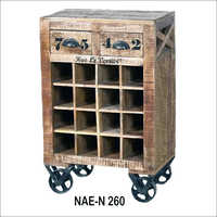 Wooden Wine Rolling Cart
