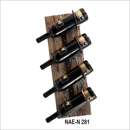 Wooden And Iron 4 Bottle Hanging Rack