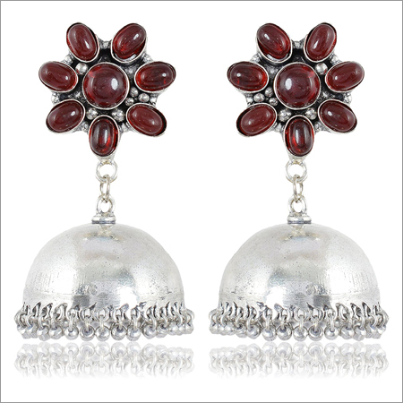 Trendy Jewelery Maroon And Silver Brass Jhumki Earrings For Women