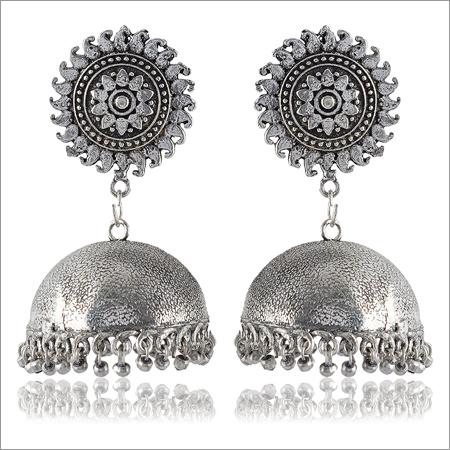 Silver Brass Jhumki Earrings