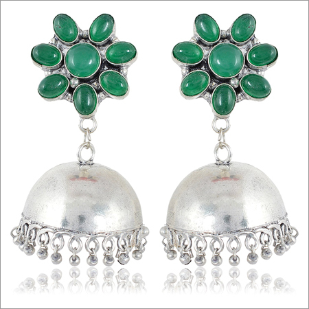 Green and Silver Brass Jhumki Earrings
