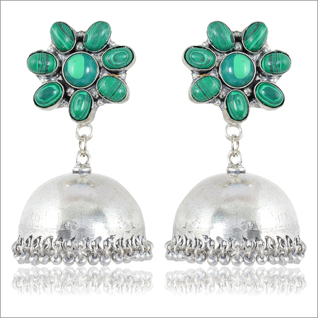 Green and Silver Brass Jhumki Earrings for Women