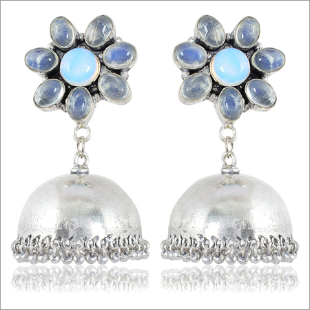 Blue and Silver Brass Jhumki Earrings