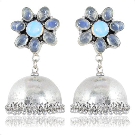 Blue and Silver Brass Jhumki Earrings