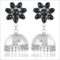 Black and Silver Brass Jhumki Earring