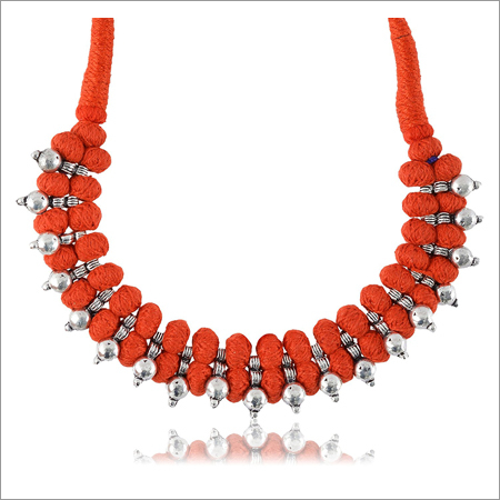 Ladies Trendy Red Fabric Strand Necklace