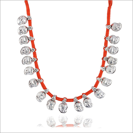 Trendy Red Fabric Strand Necklace