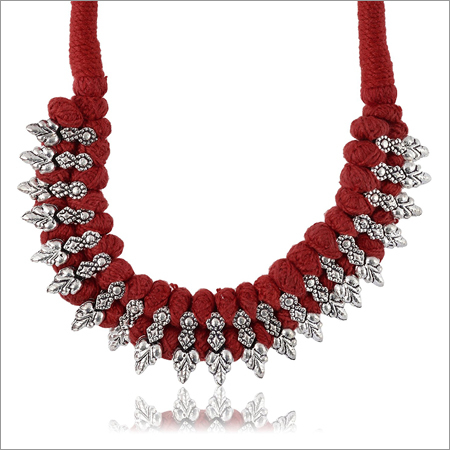 Trendy Maroon Fabric Strand Necklace