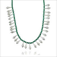 Trendy Green Fabric Strand Necklace