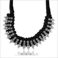 Ladies Trendy Black Fabric Strand Necklace