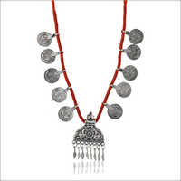 Red Fabric Strand Silver Necklace