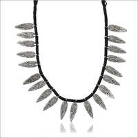 Ladies Black Fabric Strand Necklace
