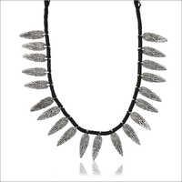 Ladies Black Fabric Strand Necklace