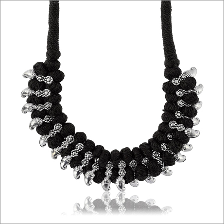 Black and Fabric Strand Necklace