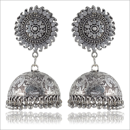 Trendy Jewelery Oxidised Silver Brass Jhumki Earrings