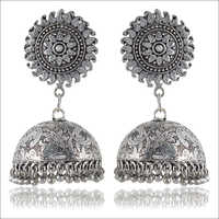 Silver Brass Jhumki Earrings