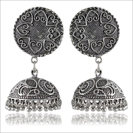 Trendy Jewelery Oxidised Silver Brass Jhumki Earrings For Women