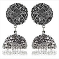 Trendy Silver Brass Jhumki Earrings