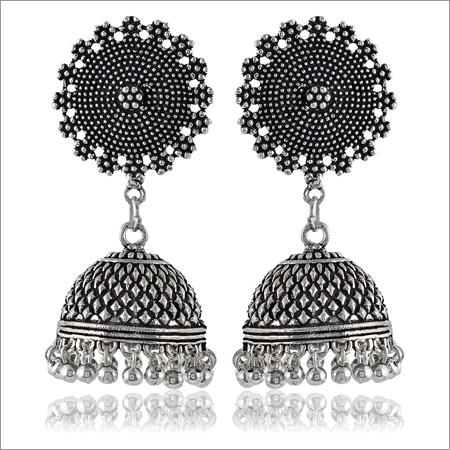 Trendy Jewelery Oxidised Silver Brass Jhumki Earrings For Women