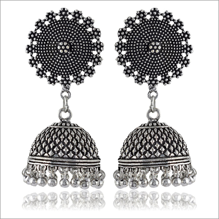 Ladies Trendy Oxidised Silver Brass Earrings