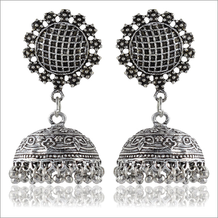 Oxidised Silver Brass Jhumki Earrings for Women