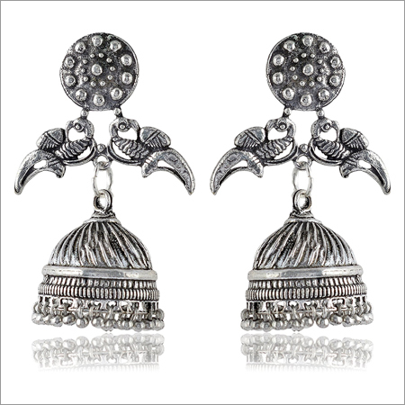 Oxidised Silver Brass Jhumki Earrings